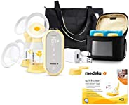 Medela 美德乐 Freestyle Flex 吸奶器,附赠快速清洁微型蒸汽袋,封闭系统安静手持便携式双电动吸奶器,移动连接智能泵,带触摸屏 LED 显示屏