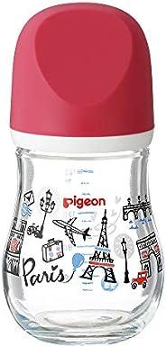 Pigeon 貝親 自然實感 寬口徑臻寶玻璃奶瓶 耐熱玻璃制 支持母乳喂養 0個月 160ml 巴黎