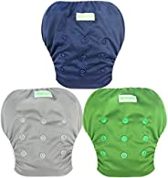 Wegreeco 嬰兒和學步兒童按扣均碼可重復使用嬰兒游泳尿布 *藍 小號
