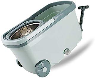 旋转拖把桶 360 度旋转拖把桶地板清洁系统,带 6 个超细纤维替换头替换装,车轮上有扳手和 48 英寸(约 121.9 厘米)延长手柄,2 个轮子适用于家庭商业清洁