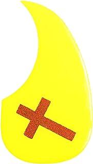 亮黄色原声吉他拾音器,带闪光十字艺术品