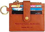 AOV 女式极简主义经文真皮钱包 RFID 屏蔽超薄信用卡包 带钥匙圈