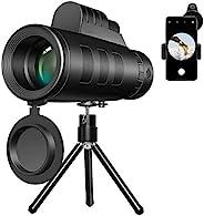 CMBro 单筒望远镜 40 x 60 高功率和高清低夜视防水 BAK4 棱镜单筒望远镜,带三脚架手机适配器支架和指南针,适用于观鸟、狩猎、露营、徒步