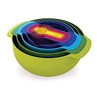 Joseph Joseph 40087 Nest 嵌套碗组套装,带混合碗,量杯和筛漏勺,9个,五彩