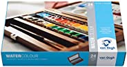 Royal Talens Van Gogh Artists' Watercolor Lux Wood Box Set: 24 Pans of Colors, 2 Brushes and Palette (4000