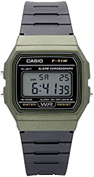 Casio 卡西欧 男士经典石英手表树脂表带,黑色,19.25(型号:F-91WM-3ACF)