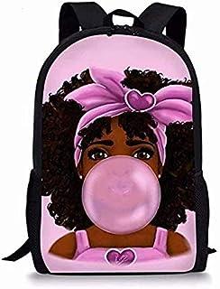 非洲女孩学生背包,休闲非洲黑人女孩轻质书包,少女,17 英寸 African 25