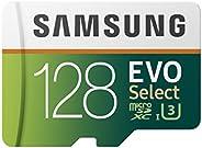 Samsung 三星 EVO Select 128 GB microSD 100MB/s,速度,全高清和4K UHD 存储卡,包含 SD 适配器,适用于智能手机,平板电脑,动作摄像头,无人机和笔记本电脑