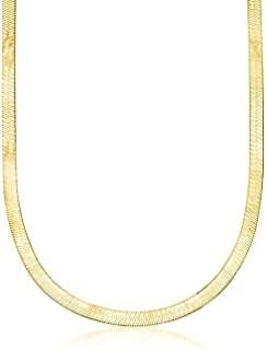 Verona Jewelers 纯银 2.5MM,3.3 毫米意大利人字呢扁平蛇魔法链 - 镀金人字纹项链,金银项链 男女皆宜