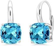 宝石王 925 纯银瑞士蓝黄玉耳环女式宝石诞生石 5.48 克拉长角阶梯切割 8 毫米