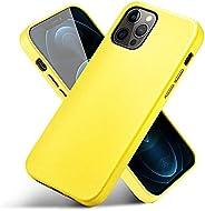 CORTAILOR 皮革手机壳兼容 iPhone 12 Pro Max,超薄手机壳保护套专为 iPhone 12 Pro Max 6.7 英寸黄色