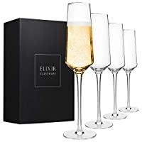 经典香槟色长笛 – 手工吹制水晶香槟杯 – 4 件套优雅花边,* 无铅优质水晶 – 婚礼、周年纪念日、圣诞节礼物 – 226.8 克,透明