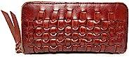 RARESTAN 手工编织皮革钱包拉链长款手拿包钱包卡钱收纳袋 红棕色