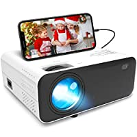 Waygoal 迷你投影儀 5500 Lux 便攜式高清投影儀 支持1080P 家庭影院投影儀 60000 小時 LED 燈壽命 200 英寸大屏幕顯示器 兼容 HDMI、VGA、USB、AV、筆記本電腦、智能手機