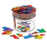 Learning Resources 半透明几何块,学习早期的几何技能,教室配件,助教用具,408件,适合K +年级之前,4岁以上的孩子