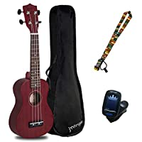 JMFinger Concert 尤克里里琴初學者 23 英寸,Sapele 膠合板兒童尤克里里琴套裝帶琴袋、肩帶、數字調諧器、酒紅色