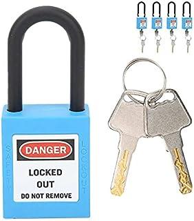 Juvielich 6 毫米锁定标签锁*挂锁 Loto 锁键控 PA 锁定标签钢扣小行李挂锁蓝色 2 件