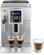 De'Longhi 德龙 ECAM 23.420.SB 自动咖啡机 带有奶泡喷嘴 可制备卡布奇诺/意式浓缩 触控键盘/清晰文字显示,双杯功能,1.8L水箱,银