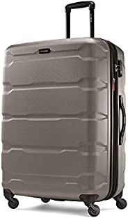 Samsonite 新秀麗 Omni Pc Hardside 可擴展行李箱,帶萬向輪,銀色,Checked-Large 28-Inch