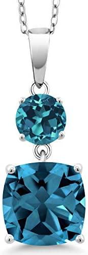 Gem Stone King 925 纯银伦敦蓝色托帕石吊坠项链女式(6.30 克拉垫带 45.72 厘米银链)