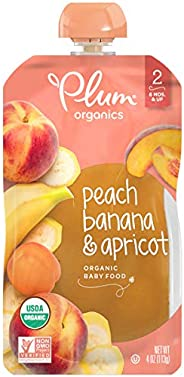 Plum Organics Stage 2, Organic Baby Food, Peach, Banana & Apricot, 4 oz. pouch (Pack of