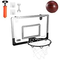 18 英寸 x 12 英寸(约 45.7 厘米 x 30.5 厘米)迷你篮球框门 – 篮球篮板室内户外运动锻炼带球和手动泵套装