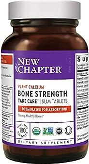 New Chapter 钙补充剂–有益于骨头强度,全食品,含维生素K2 + D3 +镁,素食,无麸质,180粒(2个月供应)