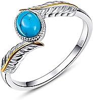 AVECON 女式 925 纯银椭圆形切割绿松石羽毛戒指订婚结婚戒指尺寸 6-9