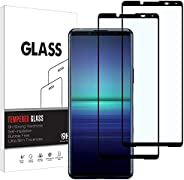 [2 件装] KELOLIN 钢化玻璃屏幕保护膜,适用于索尼 Xperia 5 II ,[全覆盖] [防刮] [无气泡] 高清屏幕保护膜兼容索尼 Xperia 5 II (黑色)
