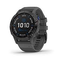 Garmin 佳明 fēnix 6 Pro 太陽能,太陽能多運動 GPS 手表,高級訓練功能和數據,黑色帶石灰色表帶,1.3 英寸屏幕 (010-02410-10)