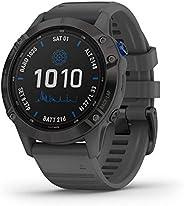 Garmin 佳明 fēnix 6 Pro 太阳能,太阳能多运动 GPS 手表,高级训练功能和数据,黑色带石灰色表带,1.3 英寸屏幕 (010-02410-10)