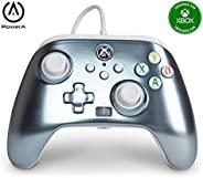 PowerA 增强型有线控制器 适用于 Xbox 系列 X|S - 金属冰、游戏手柄、有线视频游戏控制器、游戏控制器、Xbox 系列 X|S、Xbox One - Xbox Series X