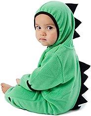 抓绒婴儿睡袋连体衣 – 婴儿睡衣儿童连帽连身衣外套幼儿夹克 Dino - Green 2T