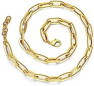 FINELOVE 金色 7 毫米粗体链式女式项链,45.72 厘米+5.28 厘米