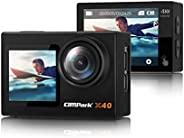 Campark X40 4K 运动相机 16MP WiFi 数码运动相机 带双屏 40M 防水相机 2.0 触摸 LCD EIS 远程控制水下动作摄像头 带 2X 1350mAh 电池