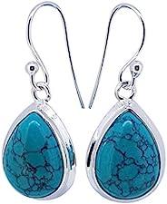 令人惊叹的 925 银天然宝石吊坠耳环,女式耳环(绿松石)