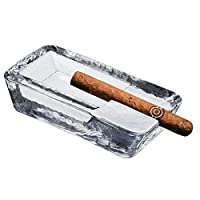 Pasabahce 水晶玻璃雪茄灰底盘 适用于庭院   重型,手工制作,奢华   户外、室内、家庭、办公室 透明 Rectangular Large