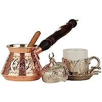 DEMMEX 6 件土耳其希腊咖啡套装 1 件,带雕刻铜锅和重型杯碟盖和勺子 Copper & Silver