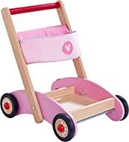 HABA 304396 – 学步车 闪光 , 木制学习辅助工具和织物带运输隔层和收纳袋,适合10个月以上儿童