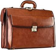 Banuce 男士复古皮革公文包带锁扣硬质15.6 英寸笔记本电脑商务包*包律师包