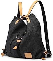 Kono 女士帆布手提包,背包,女士单肩包,购物包,复古 Hobo 单肩包,适用于工作、上学和旅行 黑色 L