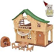 【有厂家特典】Sylvanian Families 房子 森林的令人兴奋的洛克小屋 + 波斯猫宝宝(圣诞节服)