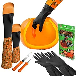 南瓜手套刮刀套件南瓜手套刮刀套装,南瓜雕刻工具包(通用成人南瓜手套刮刀套件)(成人 + 儿童手套刮刀套装)