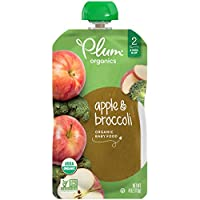 Plum Organics Stage 2, Organic Baby Food, Apple and Broccoli, 4 ounce pouch (Pack of 12)