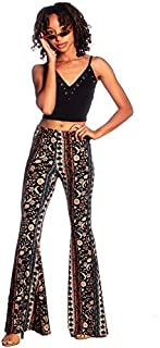 SWEETKIE 波西米亚喇叭裤,弹性腰围,女式阔腿裤,纯色印花,有弹力柔软 黑 Blue Rust 10020 Large