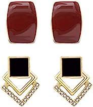 Mynaonao 复古耳钉,925 银宝石耳环,复古红宝石耳环,复古黑石耳环,复古纯银耳钉
