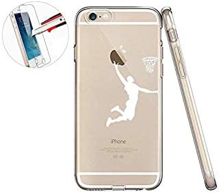 iPhone 6S 手机壳,iPhone 6 手机壳,iPhone 6s 手机壳,LEECOCO 创意印花透明 TPU 软后盖手机壳适用于 Apple iPhone 6/6S + 1 张屏幕保护膜 A Screen Boys Basketbal...