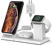 无线充电器,WisFox 3合1 Qi 认证无线充电站,适用于 Apple Watch 和 Airpods,可拆卸磁性无线充电支架底座,适用于 iPhone 11/11 Pro Max/X/XS/XR/Xs Max/8/
