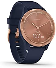 GARMIN 佳明 Vivomove 3S 多功能智能手表 带真实手表指针和隐藏触摸屏显示屏 硅胶表带,Dunkelblau/Rosegold,S