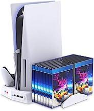 Playstation 5 垂直支架,带冷却风扇充电站,适用于 PS5 数字版/超高清控制台,带控制器充电器游戏机架存储收纳盒 USB 端口,适用于 PS5 和 DualSense-White
